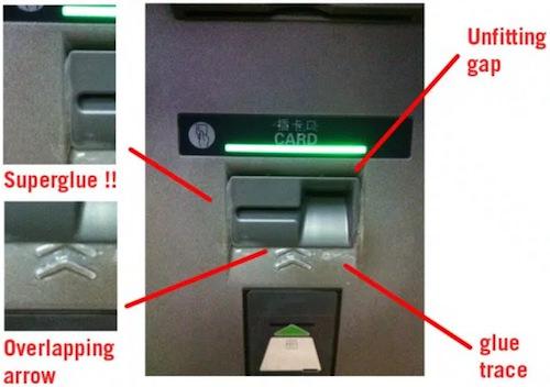 接着剤の汚れ、すき間、マークの重なりがあるATMカード挿入口(上海)
