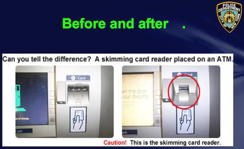 ニューヨーク市警察が公開したスキミング装置付きATM写真