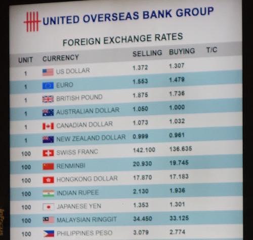 シンガポール・チャンギ国際空港内の銀行の外貨両替レート