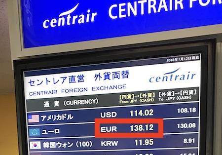 中部国際空港セントレアの直営両替ショップのユーロレート