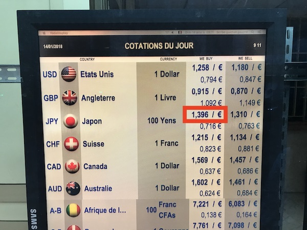 パリ 街の両替所のレート