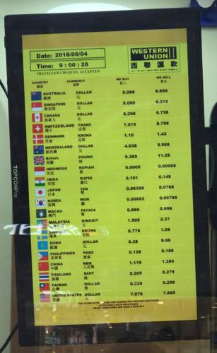 香港ウエスタンユニオンのレート表