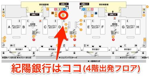 関西国際空港4階 国際線出発階の紀陽銀行