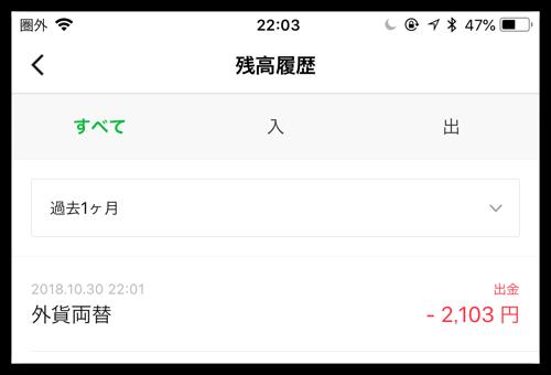 LINE pay 韓国ATM両替の結果