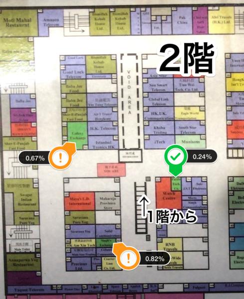 重慶マンション2階の2店舗のレートは悪くなった