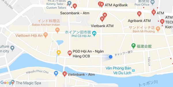 ホイアン旧市街周辺のATMの地図