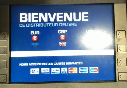 フランス パリCDG空港の米ドルと英ポンド引き出せるATM