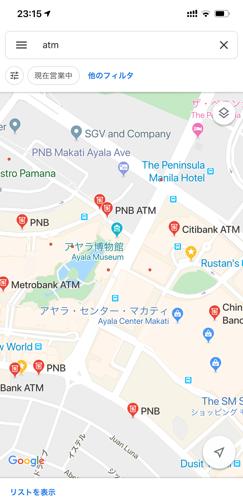 googleマップでATM検索した結果