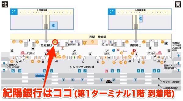 関西国際空港第1ターミナル1階の紀陽銀行の場所