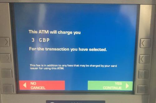 イギリスATMのATMオーナー手数料請求の画面