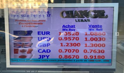 スイス現地の両替所のレート表示