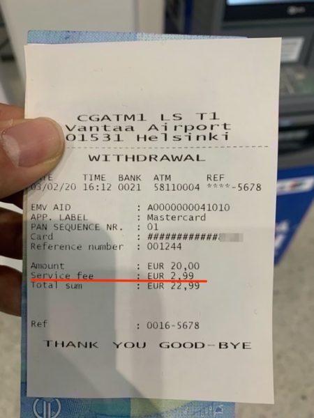 フィンランドATMのレシート(ATMオーナー手数料の記載あり)