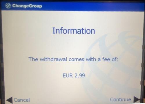 フィンランドATMのATMオーナー手数料請求の画面