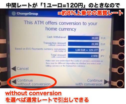 フィンランド ChangeGroup ATMの悪質レート表示