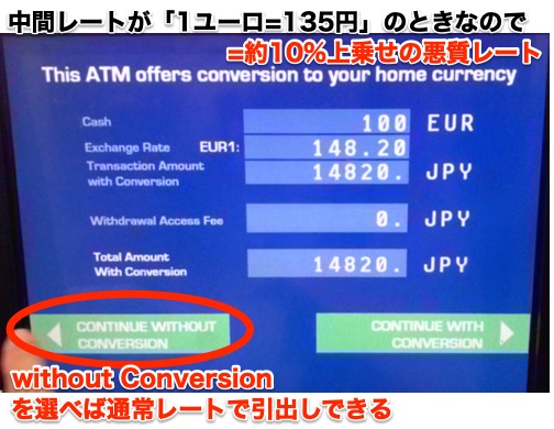 フランス Travelex ATMの悪質レート表示