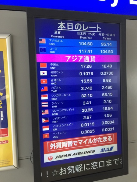 中部国際空港のトラベレックスの外貨両替レート