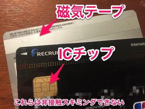 磁気テープ式とICチップ式は非接触スキミング不可の画像