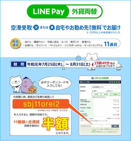 LINE Pay外貨両替の送料無料・手数料半額キャンペーン