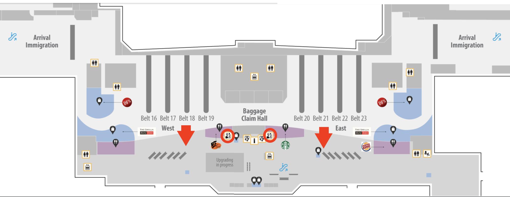 シンガポール チャンギ国際空港ターミナル1 ATM 地図