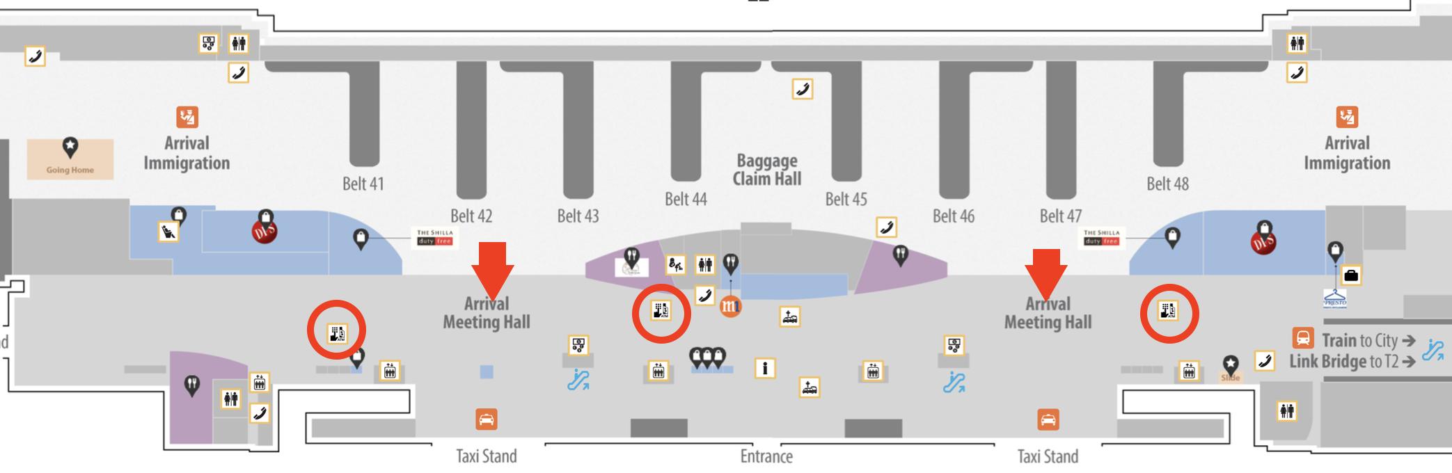 シンガポール チャンギ国際空港ターミナル3 ATM 地図